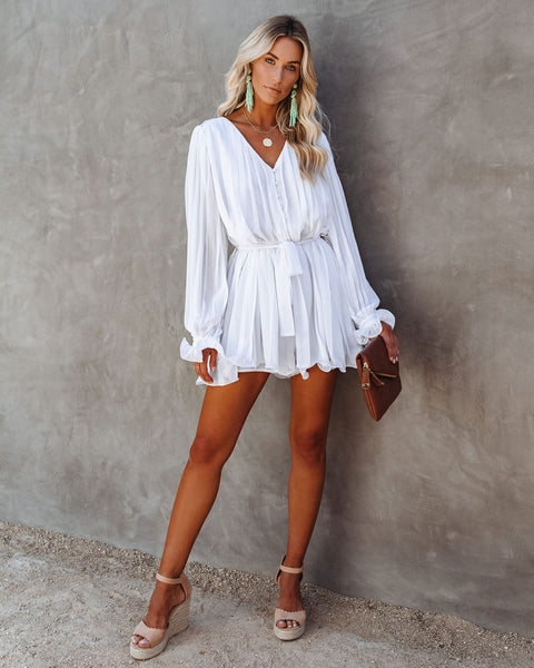 Found Love Pleated Romper - White