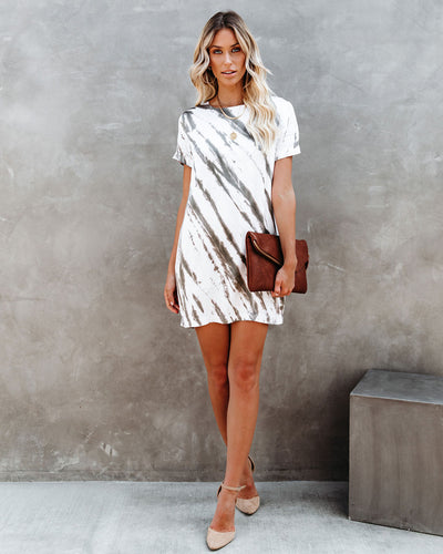 Fountain Of Youth Satin Tie Dye Shift Dress
