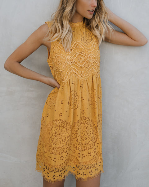 Tea Party Lace Dress - Mustard