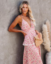 Fragrant Floral Lace Tiered Maxi Dress