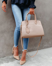 Framework Faux Leather Crossbody Handbag - Nude