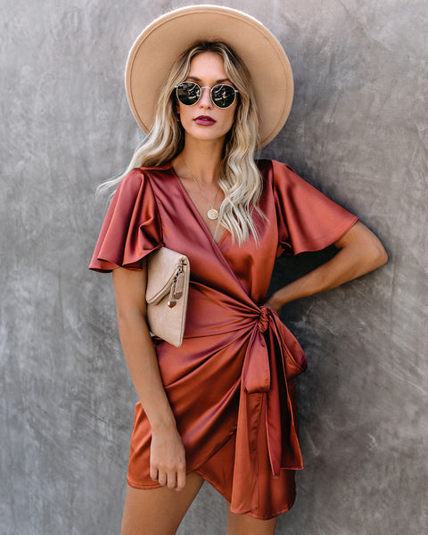 PREORDER - Frame Of Mind Satin Wrap Dress - Rust
