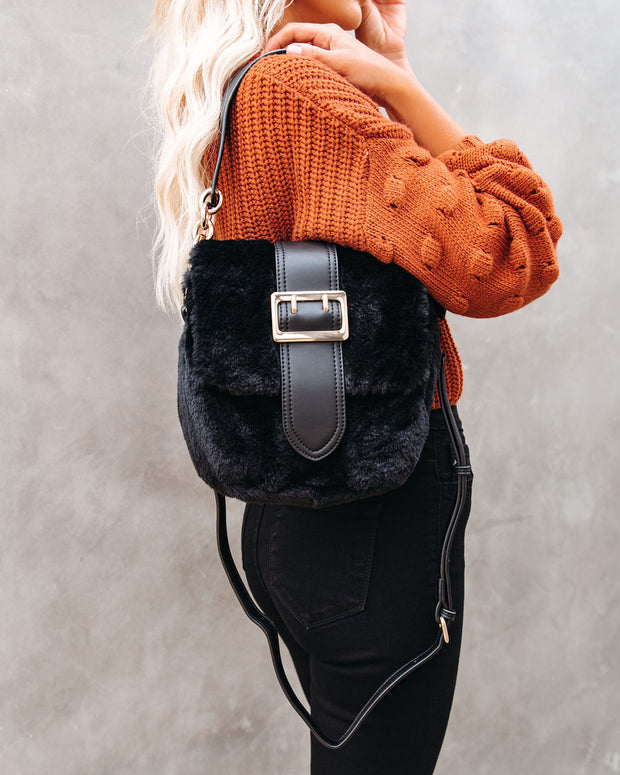 Francesca Faux Fur Crossbody Handbag - Black