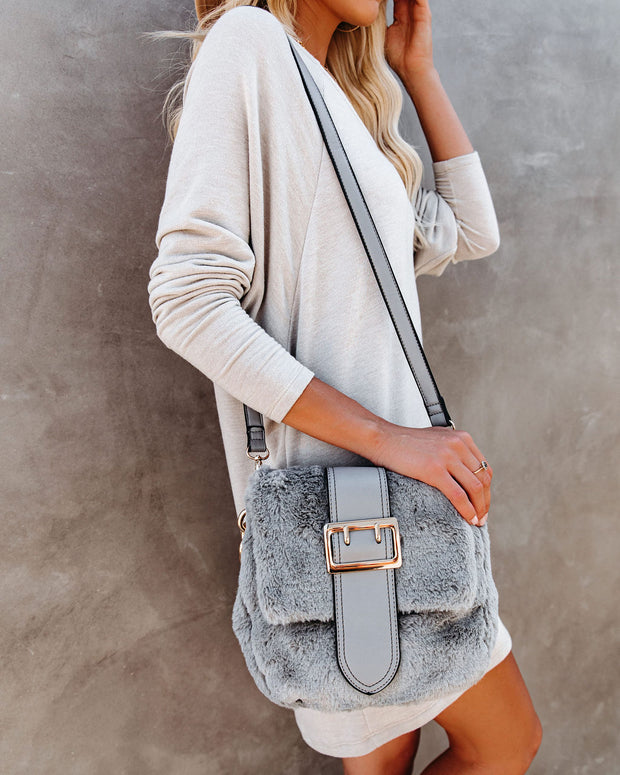 Francesca Faux Fur Crossbody Handbag - Grey