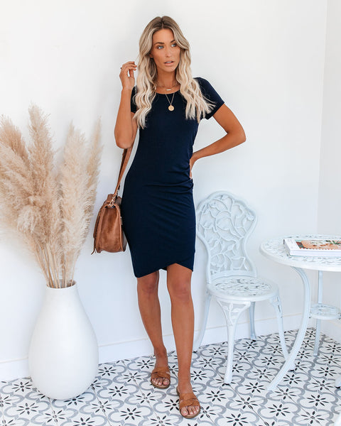 Francesca Short Sleeve Ruched Knit Dress - Navy