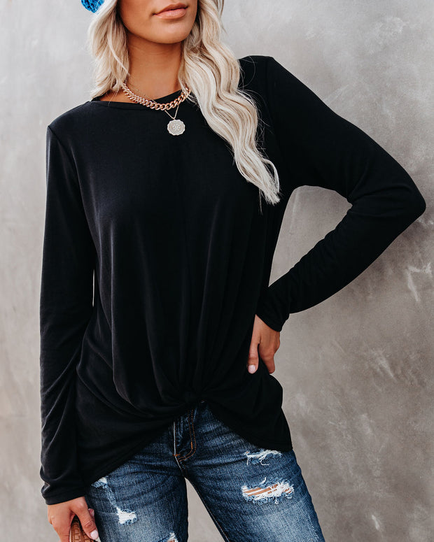 Francis Knotted Modal Blend Top - Faded Black