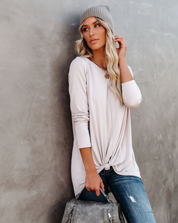 Francis Knotted Modal Blend Top - Taupe