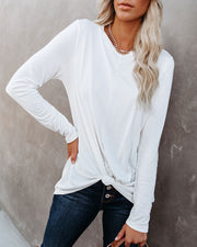 Francis Knotted Modal Blend Top - White