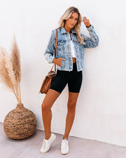 Frankie Distressed Denim Jacket view 7