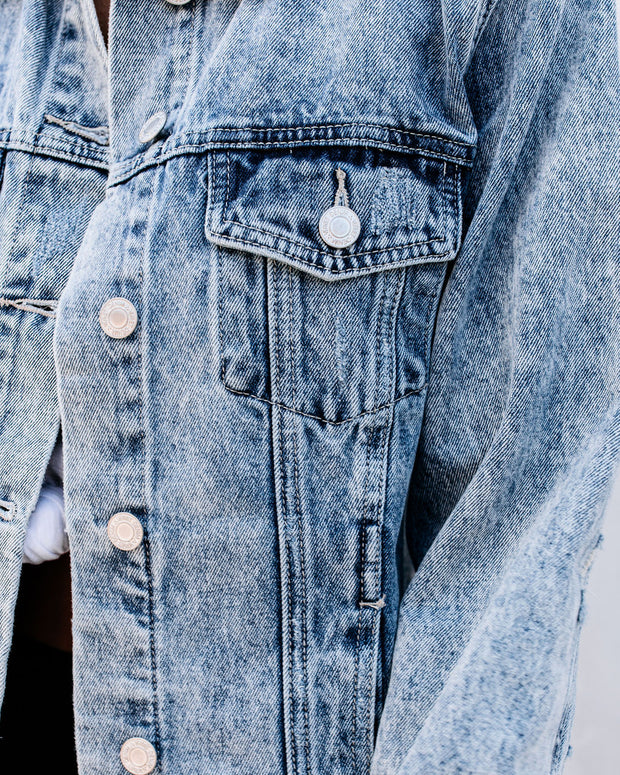 Frankie Distressed Denim Jacket view 4