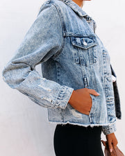 Frankie Distressed Denim Jacket view 9