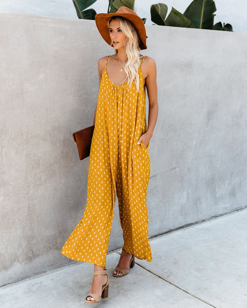 Free As A Bird Pocketed Jumpsuit - Mustard