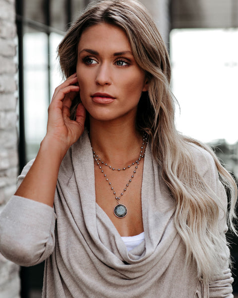 Free Spirit Beaded Pendant Necklace - Grey