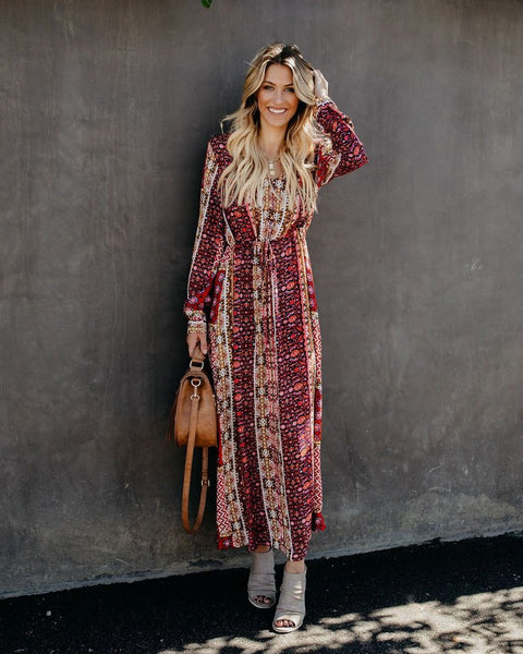 Free Spirit Printed Maxi Dress