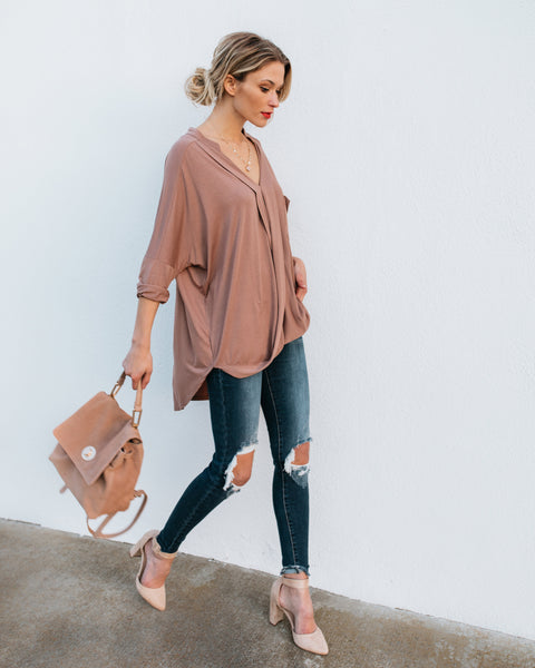 Free Time Pocketed Drape Top - Mocha