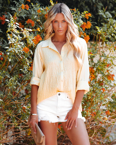 Fresh Take Crinkled Button Down Top - Yellow