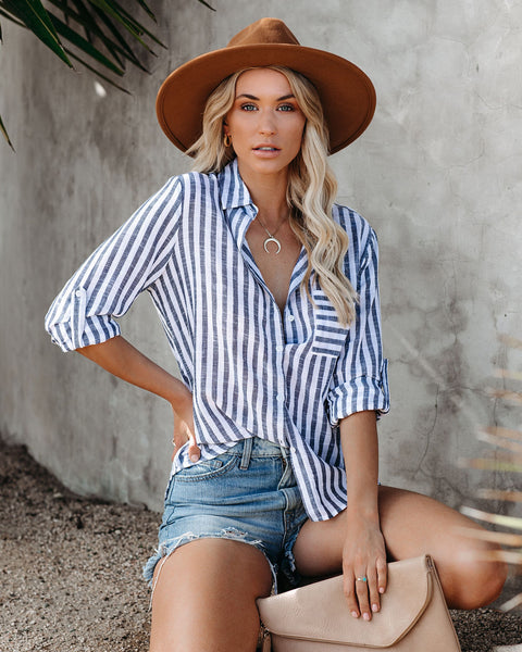 Freshwater Cotton Striped Button Down Top