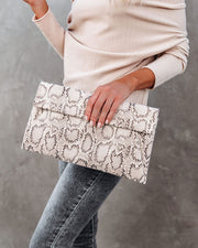 Frida Snake Embossed Crossbody Clutch