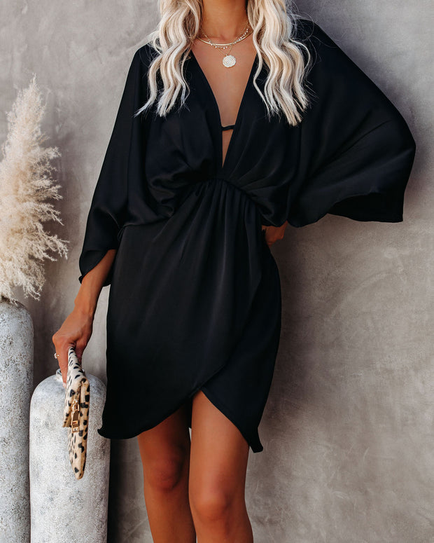 Friends And Lovers Satin Dress - Black