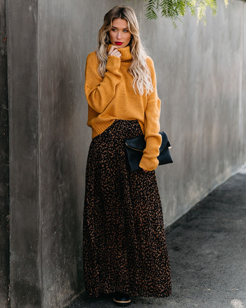 Bagheera Pleated Leopard Maxi Skirt