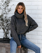 Friendship Never Fades Open Back Turtleneck Sweater - Charcoal