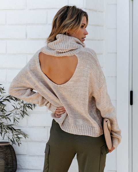 Friendship Never Fades Open Back Turtleneck Sweater - Oatmeal