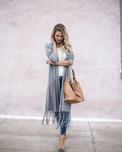 Natalie Duster Cardigan - Heather Grey