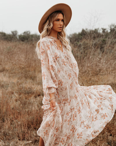 PREORDER - Frolic Floral Tiered Boho Midi Dress
