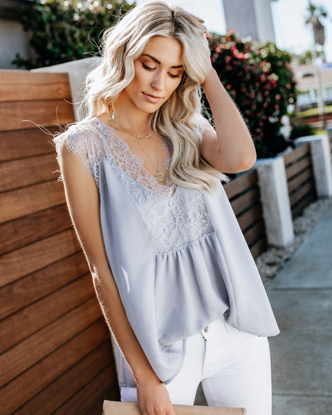 From A Dream Lace Top - Dove Grey