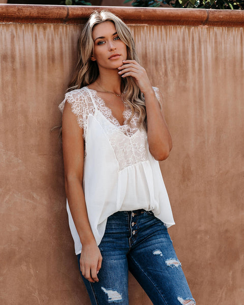 From A Dream Lace Top - Off White