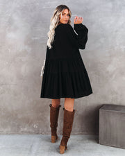 From Autumn To Spring Cotton Babydoll Dress - Black