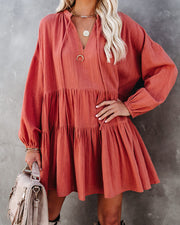 From Autumn To Spring Cotton Babydoll Dress - Soft Rust