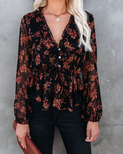 PREORDER - Frosted Cranberry Floral Peplum Blouse