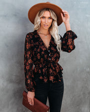 Frosted Cranberry Floral Peplum Blouse