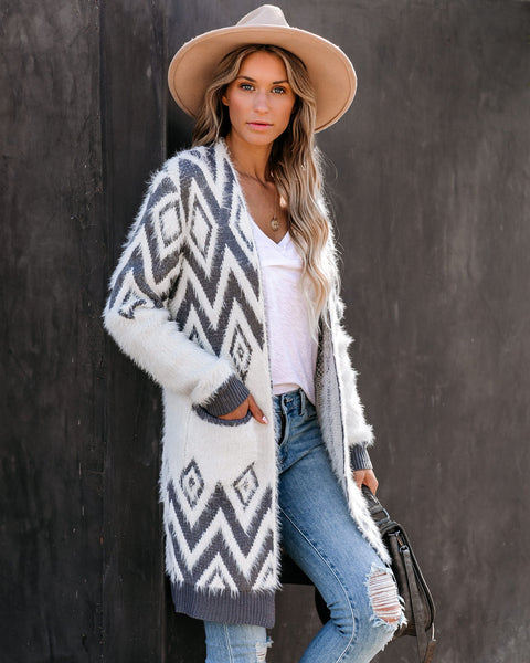 Frosty Pocketed Aztec Cardigan