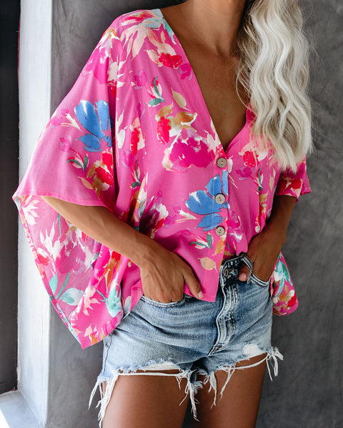 Fruit Punch Floral Button Down Kimono Top - FINAL SALE