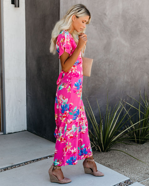 Fruit Punch Floral Pocketed Tie Jumpsuit - FINAL SALE