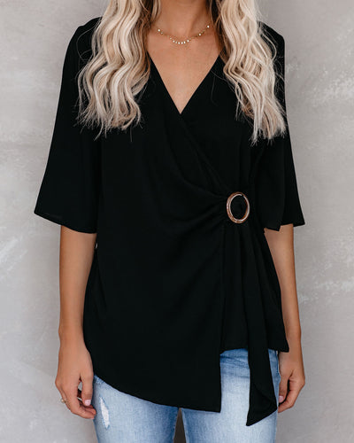 Fuel Your Desire Wrap Blouse - Black - FINAL SALE