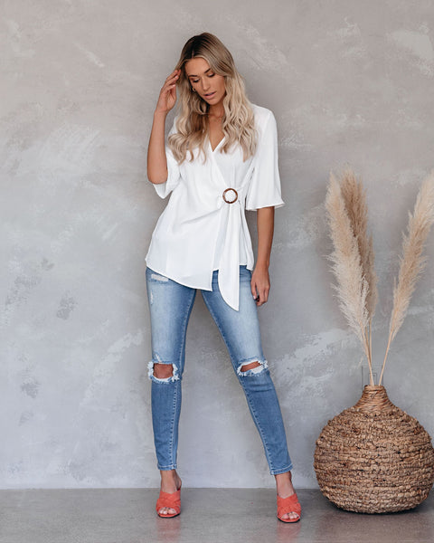 Fuel Your Desire Wrap Blouse - White - FINAL SALE