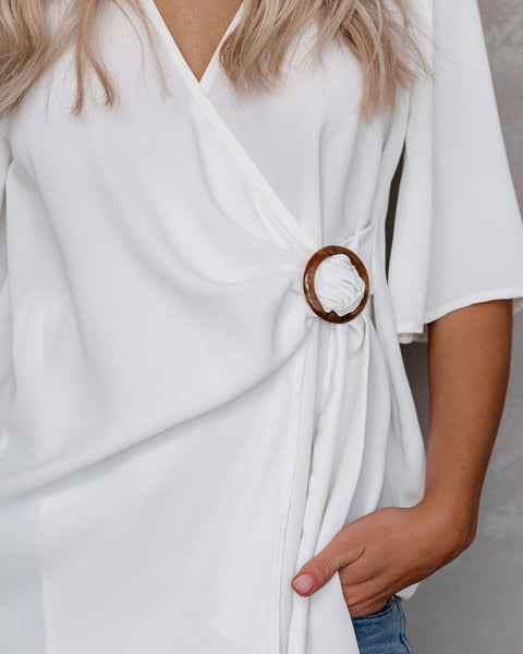 Fuel Your Desire Wrap Blouse - White