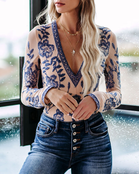 Fulfill Your Dreams Long Sleeve Lace Bodysuit - Navy