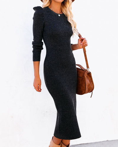Full Disclosure Ribbed Long Sleeve Midi Dress