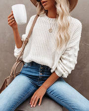 Full Of Cheer Cropped Knit Sweater - Ivory - FINAL SALE