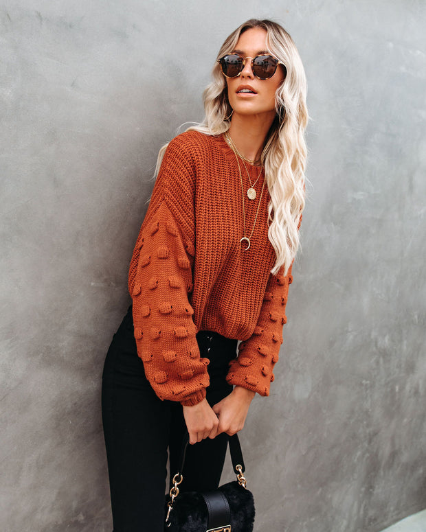 Full Of Cheer Cropped Knit Sweater - Rust - FINAL SALE