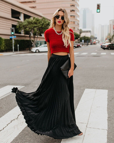 Full Of Grace Pleated Maxi Skirt - Black - FINAL SALE