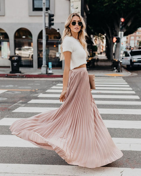 Full Of Grace Pleated Maxi Skirt - Champagne