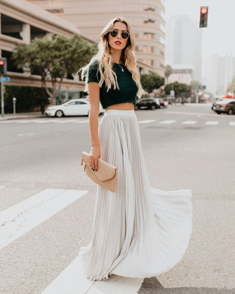 Full Of Grace Pleated Maxi Skirt - Silver - FINAL SALE