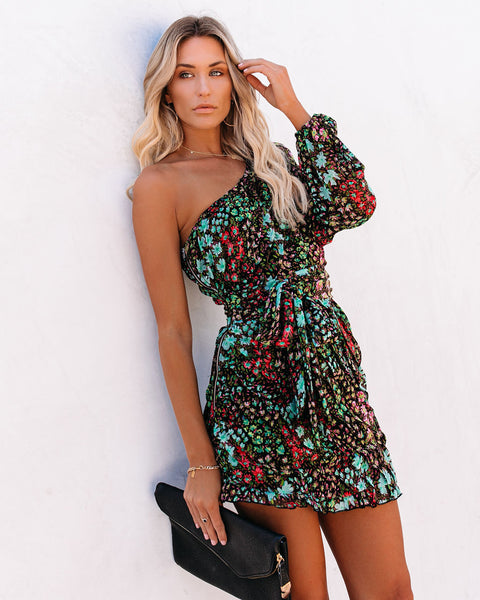 Fun In The Sun Floral One Shoulder Dress