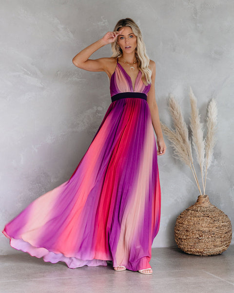 Fusion Pleated Maxi Dress