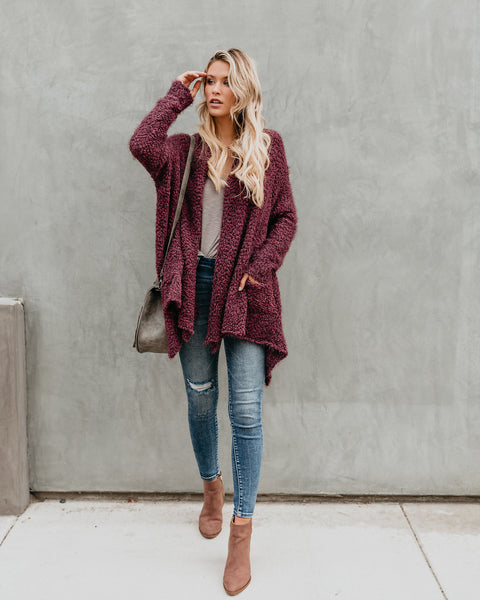 Fuzzy Wuzzy Pocketed Knit Cardigan - Wine